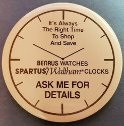 Vintage Benrus Watches And Waltham Clocks Advertising Promotional Button Pinback