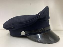 Vintage Nsw Police Cap/hat + Metal Buttons Kings Crown 1940and039s Made In Sydney