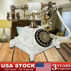 Antique Vintage Bell Phone Rotary Retro Telephone White Hotel Firm Decoration