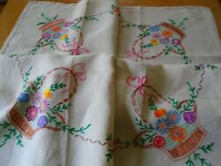 VINTAGE HAND EMBROIDERED IRISH LINEN TABLECLOTH BASKETS OF FLOWERS
