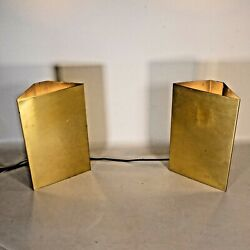 Vintage 1960s Art Deco Brass Corner Wall Mounted Light Lamp Wall Sconces Gold