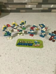 Lot Of 10 Vintage Smurfs Peyo Schleich 1970and039s 1980and039s Collectible Figures Rare