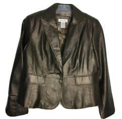 Worthington Sz Xl Womens Genuine Leather Jacket Front Flap Pockets Floral Lined