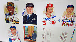 Uncut Autographed 10th Series Perez Steele Sheet Johnny Bench Willie Stargell