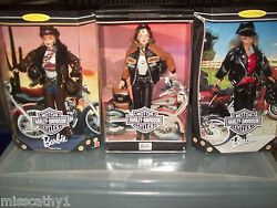 Lot Of Harley Davidson Barbies And Kens W/fatboy