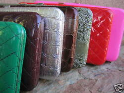 Metal Framed Flat Clutch Wallets Choice of Colors Brand New $10.95