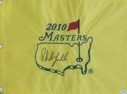 Phil Mickelson Signed 2010 Masters Flag Jsa