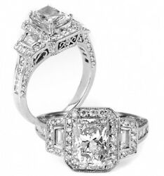 2.92 Ct  Radiant Cut Micro Pave Diamond Engagement Ring With Trapezoids Halo