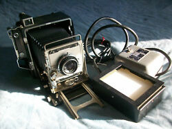 Graflex Speed Graphic Camera And Graflarger And 1951 Ad