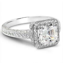 2.02 Ct. Asscher Cut Micro Pave Diamond Halo Engagement Ring Square Emerald Cut