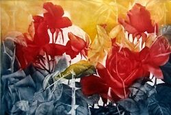 G H Rothe Burning Roses 1988 Art Hand Signed Yellow Flower Limited Edition L@@k