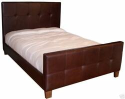 Beautiful Queen Size Genuine Leather Bed Double Needle Tufted