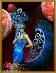 Charismatico BLUE CABARET SHOW GIRL SEQUIN BUTTERFLY Headdress Costume set +WING