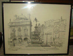 Raymond Piper Artist Drawing Piccadilly Circus And Eros Art Coca Cola Original