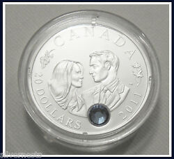 2011 Ca Royal Wedding Of William And Kate.9999 Pure Silver Proof /sapphire Crystal