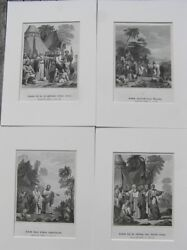 Lot Of 4 Matted Bible Prints Jacob / Book Of Genesis / Antique Print 1864