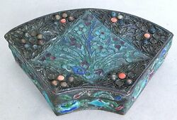 Antique Chinese Enameled Champleve Cloisonne Bat Wing Or Fan Shape Box 4.3