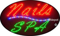 Us Seller Animated Nails Spa Led Sign Neon Lighted. Video Inside. 21x13-1/2