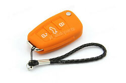 Orange Remote Silicone Case Cover For Audi Flip Folding Key 3 Buttons 4 A059OR