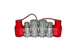 """2 Sets Of 3/4"""" Sae Thread Flat Face Couplers Skid Steer Bobcat Style W/dust Cap"""