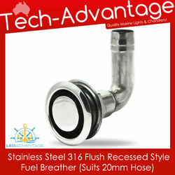Stainless Steel Thru-hull Recessed Flush Mount Fuel Breather Suits 20mm Hose