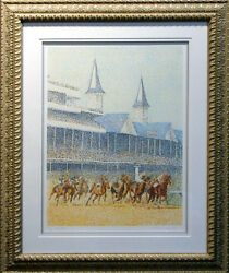Guillaume Azoulay Full Field Signed Original Art Serigraph Horse Race Obo