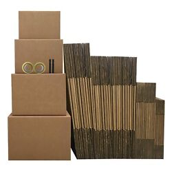 Uboxes Moving Boxes - 5 Room Economy Kit 62 Boxes, Plus Packing Supplies