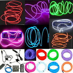 Neon LED Light Glow EL Wire String Strip Rope Tube Decor Car Party Controller $8.88