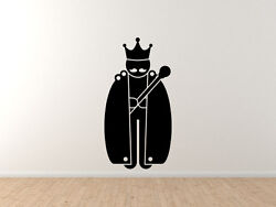 Medieval Stickman 11 - King With Robes Mustache Staff Sceptre- Vinyl Wall Decal