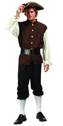ADULT COLONIAL MENS COSTUME JOHN ADAMS US HISTORY PLAY W TRI-CORNER HAT BROWN $42.95