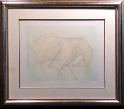 Guillaume Azoulay Blue Horse Hand Signed And Numbered With Custom Frame