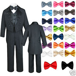 6pc Baby Kid Boy Wedding Formal Black Vest Tail Tuxedo Suits With Extra Bow S-18