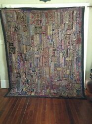 Antique Indian Patchwork Tapestry 97 X 80 Embroidered Wall Hanging Katchi Rug
