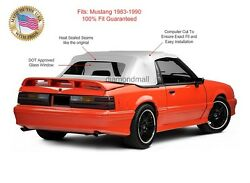 Ford Mustang Convertible Soft Top Replacement And Glass Window White Vinyl 1983-90