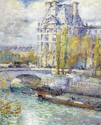 The Louvre On Pont Royal By Childe Hassam Giclee Fine Artandnbspprint Repro On Canvas