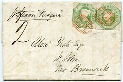 Lovely 1850 cover Liverpool to NEW BRUNSWICK pair 1s embossed RED FRH