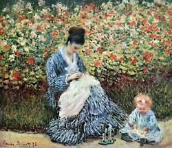 Madame Monet And Child By Claude Monet Giclee Fine Artprint Repro On Canvas