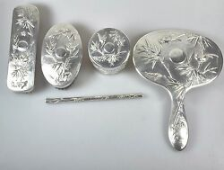 Set 5 Antique Chinese China Export Solid Silver Repousse Vanity 1900