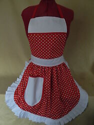 Retro Vintage 50s Style Full Apron / Pinny - Red And White With White Trim