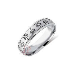 Wedding Ring With Lazer Floral Detail - Available In 9ct Or 18ct Gold