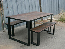 Dining Set Made Of Steel And Vintage Reclaimed Wood. Urban. Modern. Table Bench