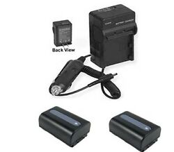 Two 2x Batteries + Charger For Sony Hdr-xr260 Hdr-xr260v Hdr-xr260ve Hdr-cx260v