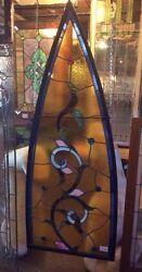 Amber Vine Antique Gothic Arch Stained Glass W Roundelles 7516