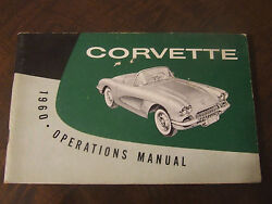 1960 Corvette Factory Gm Owners Manual First Edition Part 3770472 W/ Full Card