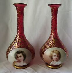 Fine Pair Of 19th Century Bohemian Overlay Hand Painted Glass Vases
