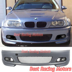 M-tech Ii Style Front Bumper + Fog + Dual Hole Covers Fit Bmw E46 2dr 3-series