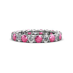 Tourmaline And Diamond Womens Eternity Ring Stackable 3.05 Ctw 14k Gold Jp29282