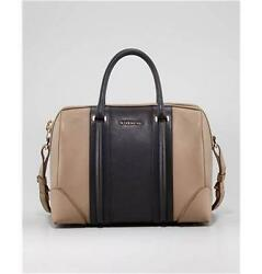 Givenchy Lucrezia Two Tone Colorblock Leather Satchel Duffel Tote Bag 2810