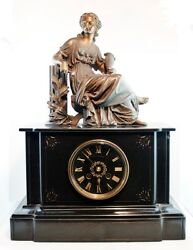 Xixs Antique French Empire Table Clock Mantle Bronze And Marble Solid Weighter