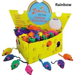 Cat Mice Toys USA Seller Zanies 510203060120 Rattle Rainbow Furry Mouse